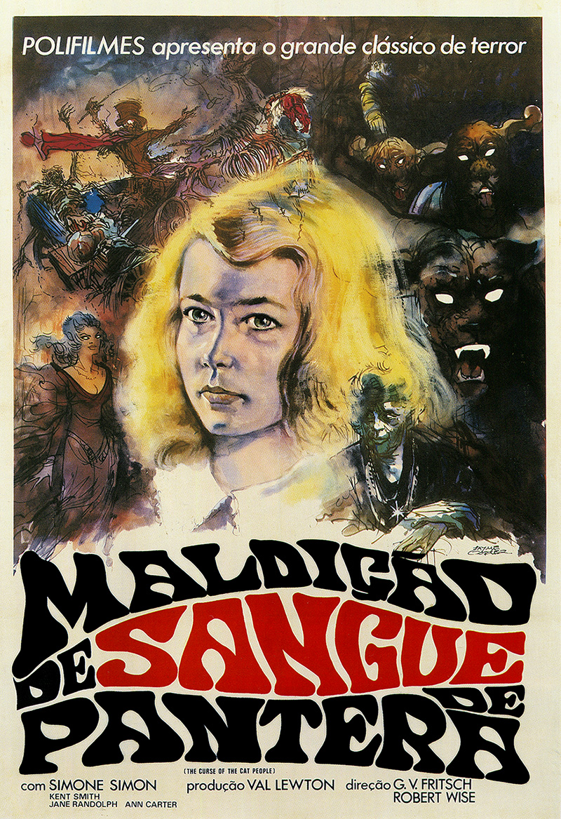 Cartaz de cinema do relançamento de Maldição do Sangue de Pantera, pela Polifilmes. Criação Álvaro de Moya e desenho de Jayme Cortez.